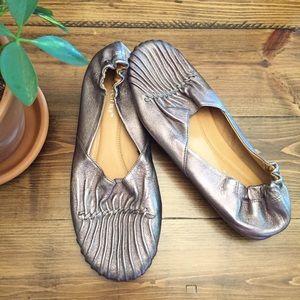 Chocolat Blu Cam2 Pintuck Leather Ballet Flats